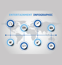 infographic design with entertainment icons vector image
