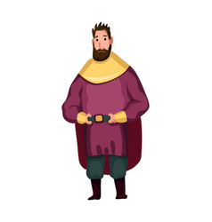 Isolated medieval fat man character with royal vector