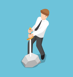 isometric businessman trying to pull sword from vector image