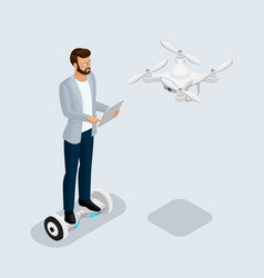 isometric people drone quadrocopter 3d vector image