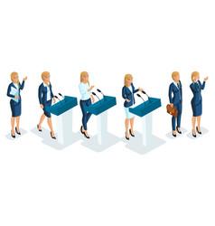 Isometrics are business women leaders presenters vector