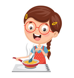 kid cooking meal vector image