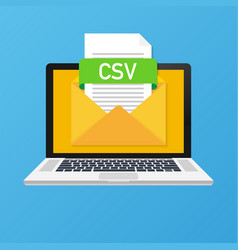 laptop with envelope and csv file notebook and vector image