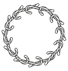 line art black and white candy cane wreath vector image