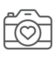 love camera line icon photography and valentine vector image