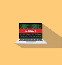 malware concept with laptop comuputer and text vector image