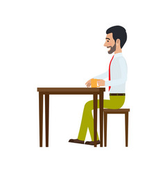 man sitting at chair and drinking tea side view vector image