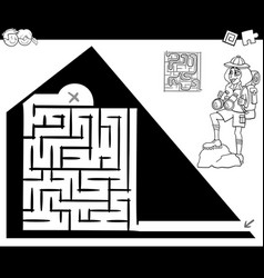maze activity game with traveler and pyramid vector image