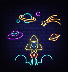 Neon rocket ufo saturn planet and comet icons vector