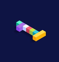 number 1 isometric colorful cubes 3d design vector image