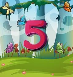 Number five with 5 butterflies in garden vector