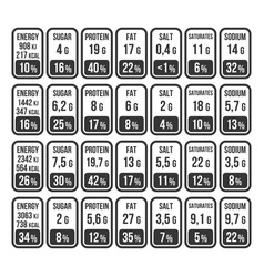 Nutrition facts information label set on white vector