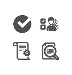 Opinion verify and technical documentation icons vector