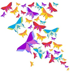 Origami butterfly color splash vector image