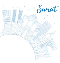 Outline Surat Skyline with Blue Buildings vector image