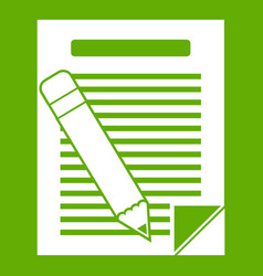 paper and pencil icon green vector image