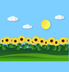 paper sunflowers summer field landscape paper vector image