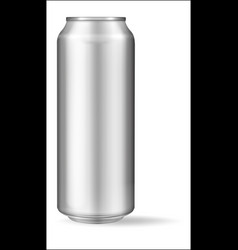 realistic aluminum can on white background mockup vector image