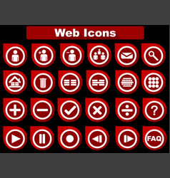 red flat web icons vector image