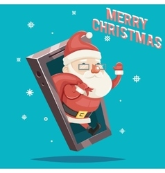 Santa Claus with Gift Bag Christmas New Year vector image