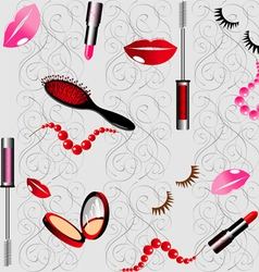 seamless background with cosmetics vector image