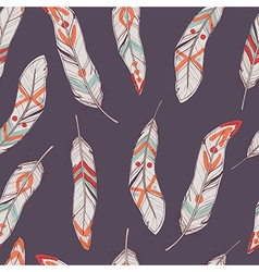 seamless ethnic pattern with feathers vector image