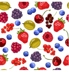seamless pattern fresh berries vector image