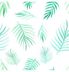 seamless pattern with leaves watercolor vector image
