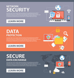 Security data exchange flat icons banner vector