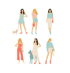 set girls with dogs vector image