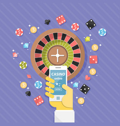 set of casino online elements flat vector image