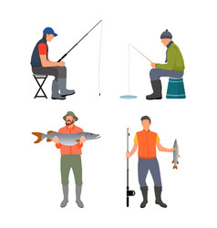 sitting and standing fishermen colorful poster vector image