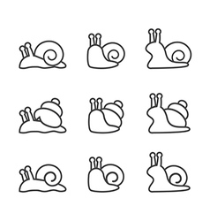 snail icon set line vector image