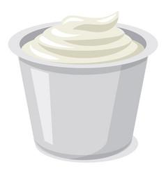 Sour cream in plastic glass vector