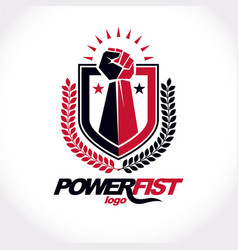 Symbol created using clenched fist of athletic vector