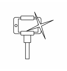 Taking pictures on smartphone on selfie stick icon vector image