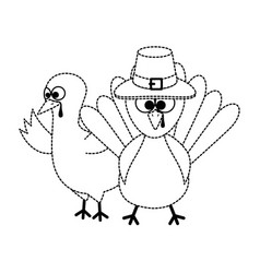thanksgiving turkeys with hat character icon vector image