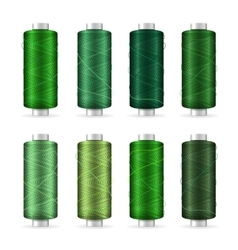 Thread Spool Set Bright Plastic Bobbin Isolated vector image