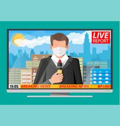 Tv news anchorman reads world news vector