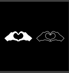 two hands have shape heart hands making heart vector image