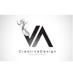 Va letter logo design with black smoke vector