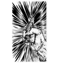 vape cigarette in hand sketch vector image