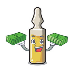 With money bag ampoule mascot cartoon style vector