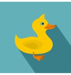 Yellow duck icon flat style vector image