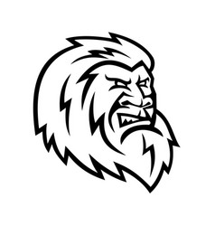 yeti or abominable snowman head mascot black and vector image
