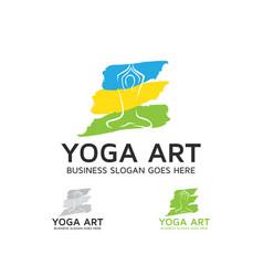 Yoga art logo design vector