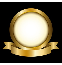 a gold circle with ribbon emblem vector image