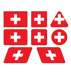 buttons with flag of Switzerland vector image