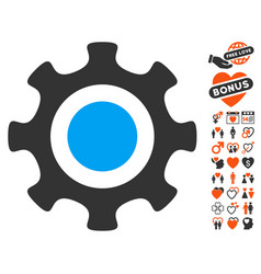 cogwheel icon with love bonus vector image vector image