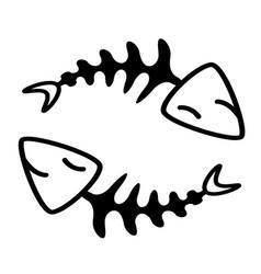 fish bone in circle design vector image